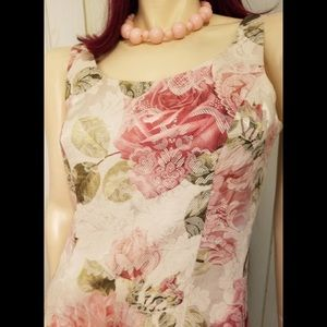 VTG 90s Newport News Floral Tapestry Sheath Dress